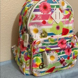 NWT CLAIRE'S backpack w/fun print! 🍉 🌸 🥝 🥨
